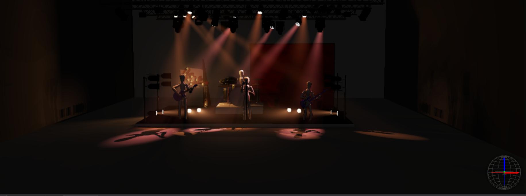 Modelisation de la scene des Crazy dolls and the Bollocks avec des lumières attenué et chaudes. Réalisé par Machicoulis