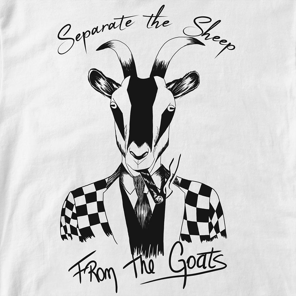 T-shirt Bad Goat. Chèvre costard fumant cigare ;séparer les moutons des chèvres. Infographie Batshit, style Dessin encré. Format A4