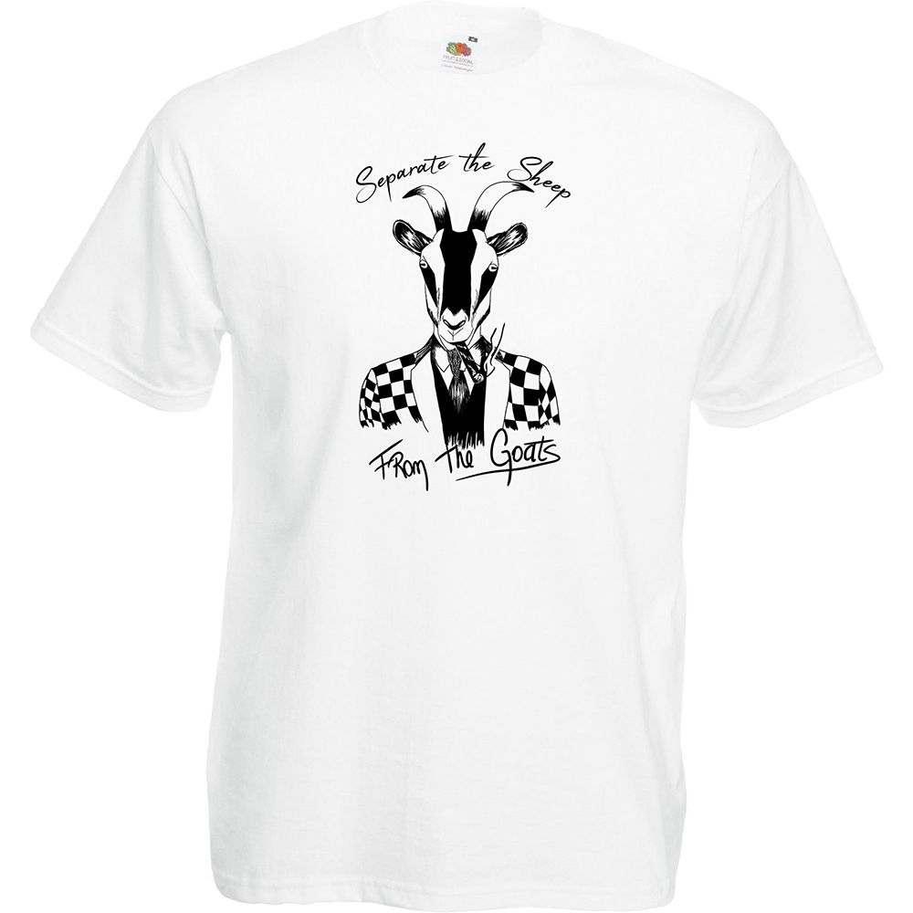 """T-shirt, coton blanc """"Bad Goat"""". Réalisation Bat-Shit. Sublimation A4"""