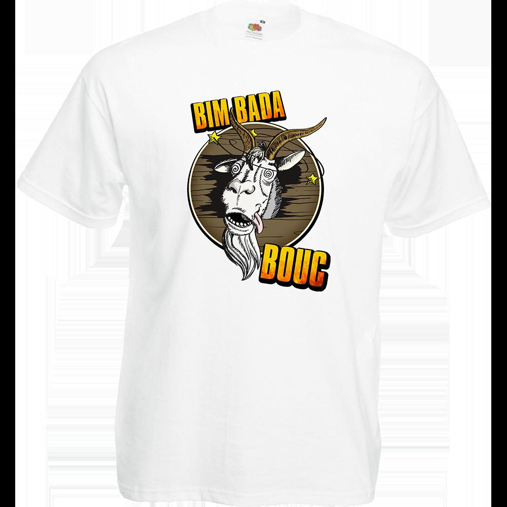 "T-shirt, coton blanc ""Bim Bada Bouc"". Réalisation Lapin-Cyan. Sublimation A4"