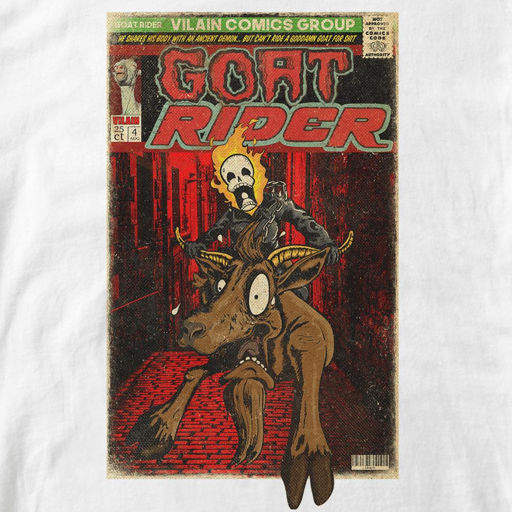 T-shirt Goat Rider. Parodie comics Ghost Rider. monter sur un bouc sort de la couverture. Infographie Lapin-Cyan Retouche Vilain le singe. Style vieux comics. Format A3