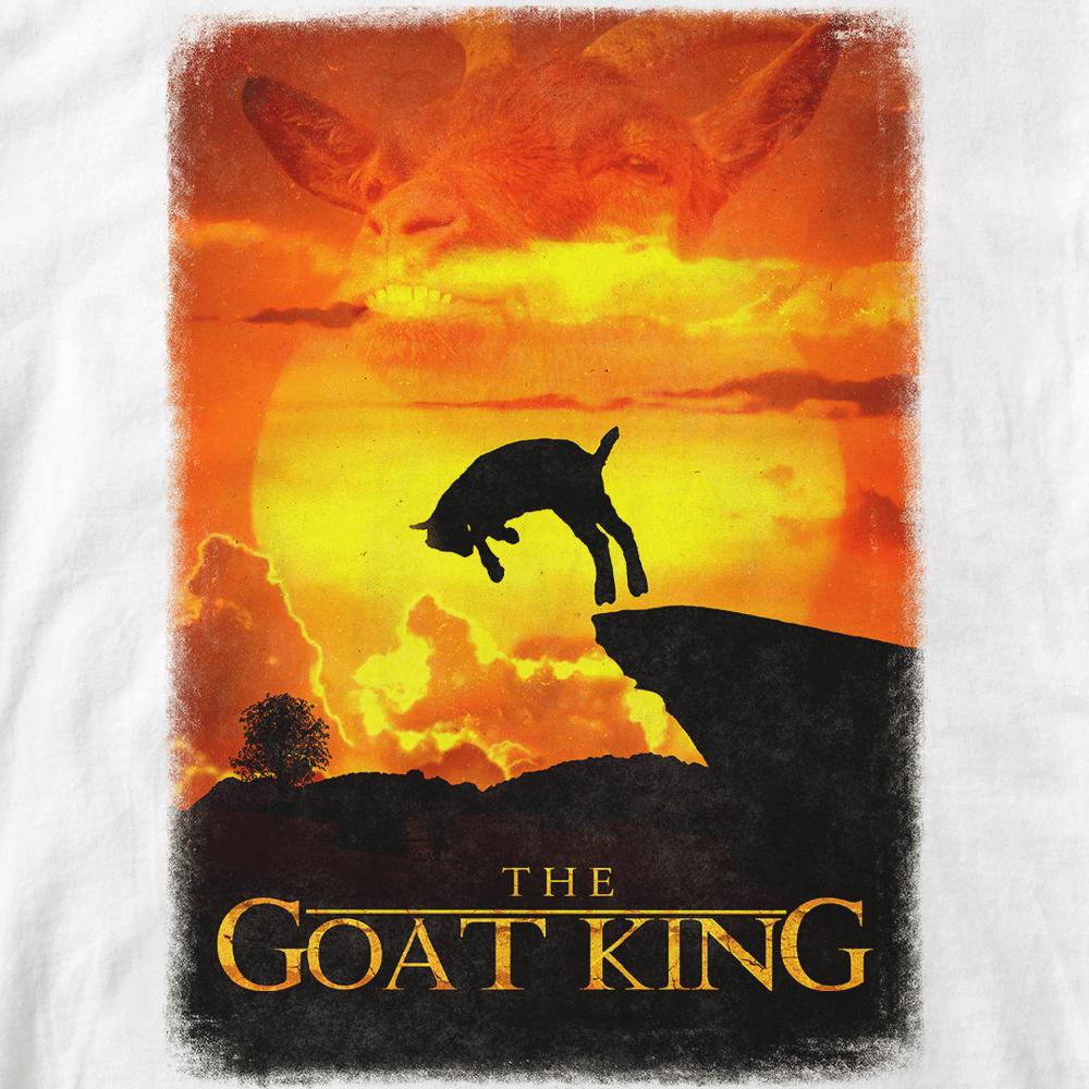 The goat King. parodie film Roi lion, chévre saut. Infographie Batshit. Retouche Vilain le singe. format A3