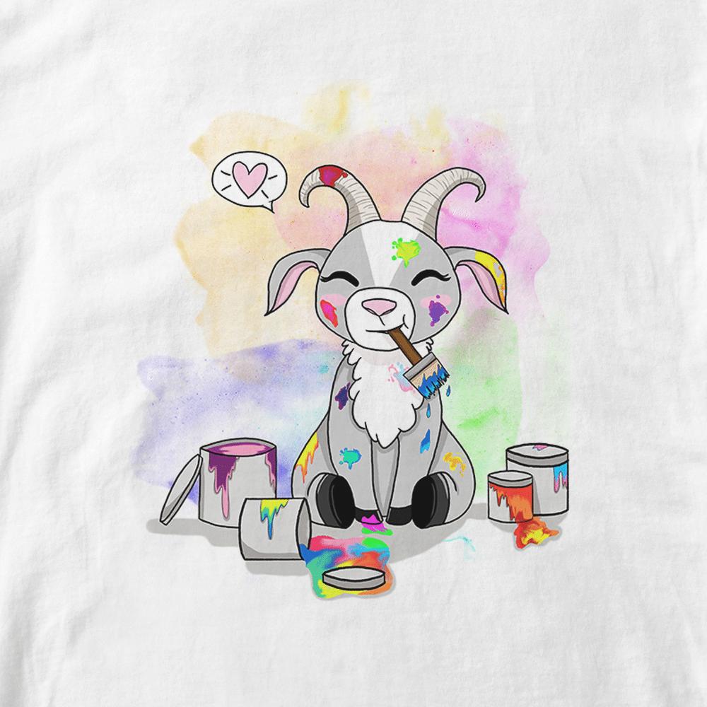 T-shirt Baby Paint. Illustration bébé chèvre jouant avec peinture. Infographie Batshit. Style cartoon enfants pastel. Format A4.