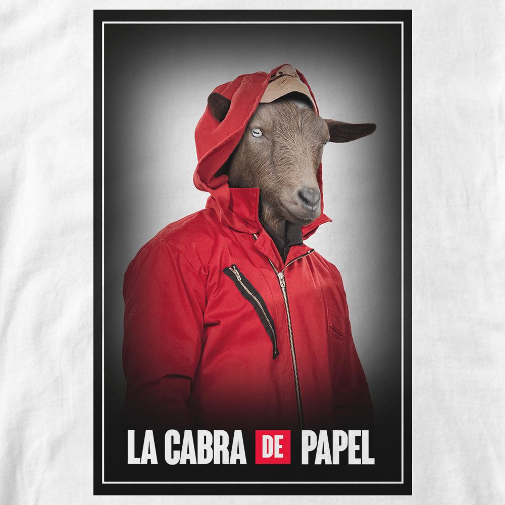T-shirt Cabra de Papel. Parodie serie Casa de Papel Chèvre capuche rouge. Réalisation Batshit, style affiches Casa de Papel. Format A3