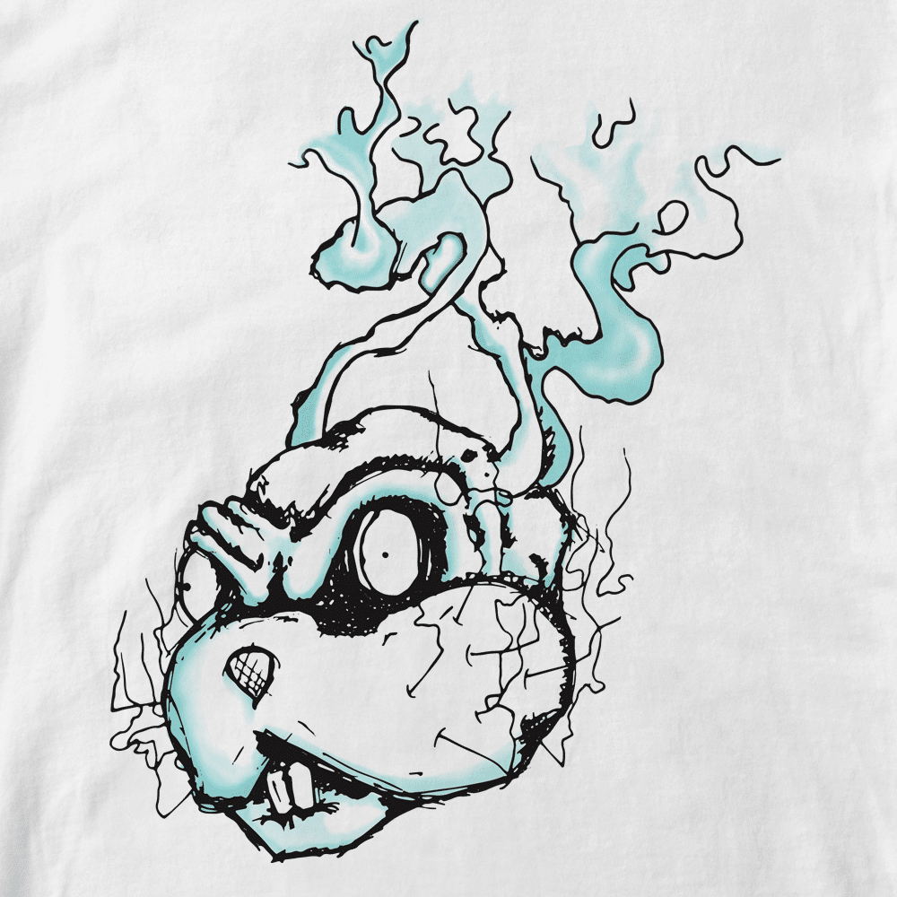 T-shirt Emblème Lapin-Cyan. Portrait lapin part en fumée Cyan. Infographie Lapin-Cyan .Style cartoon. Format A4