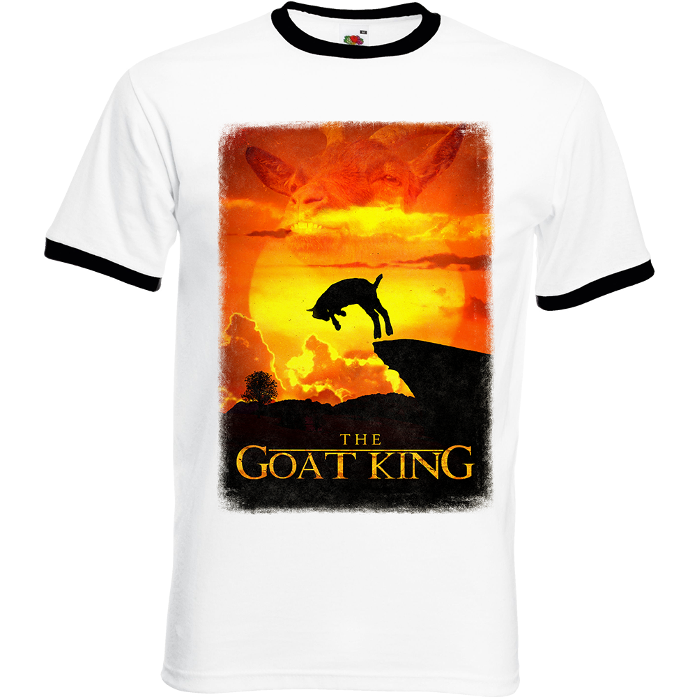 """T-shirt Ringer, coton blanc avec manche et col noir """"GoatKing"""". Réalisation Bat-Shit/Vilain le singe. Sublimation A3"""