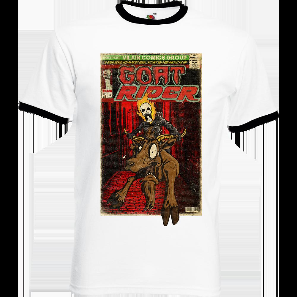 """T-shirt Ringer, coton blanc avec manche et col noir """"Goat Rider"""". Réalisation Lapin-Cyan/Vilain le singe. Sublimation A3"""