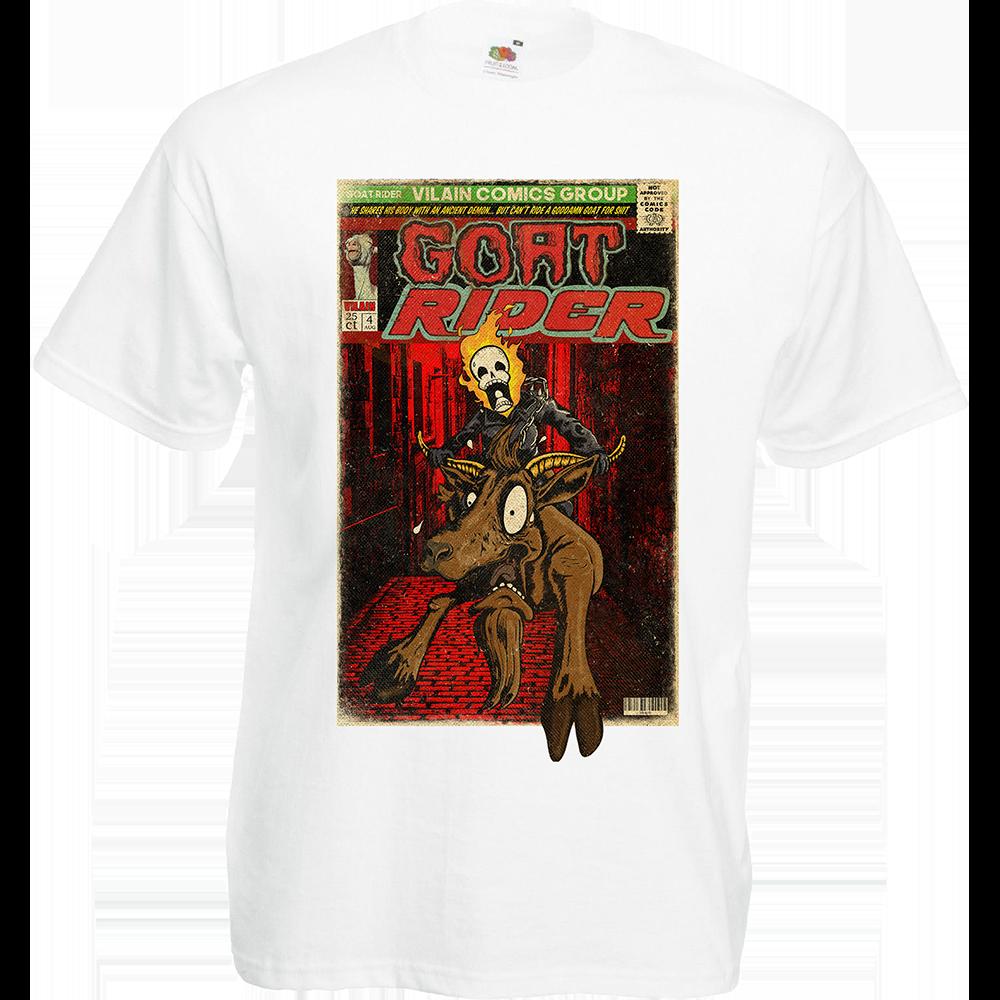 """T-shirt, coton blanc """"Goat Rider"""". Réalisation Lapin-Cyan/Vilain le singe. Sublimation A3"""