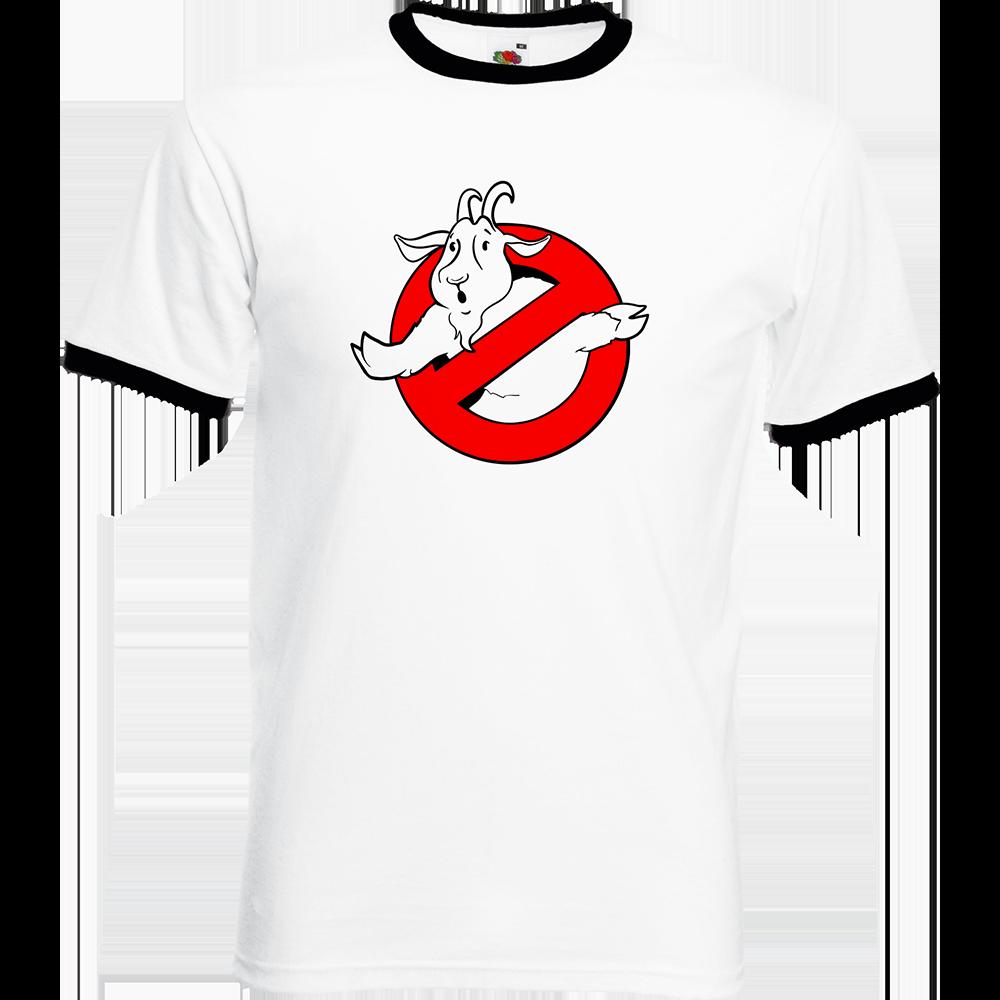 """T-shirt Ringer, coton blanc avec manche et col noir """"Goatbuster"""". Réalisation Lapin-Cyan. Sublimation A4"""