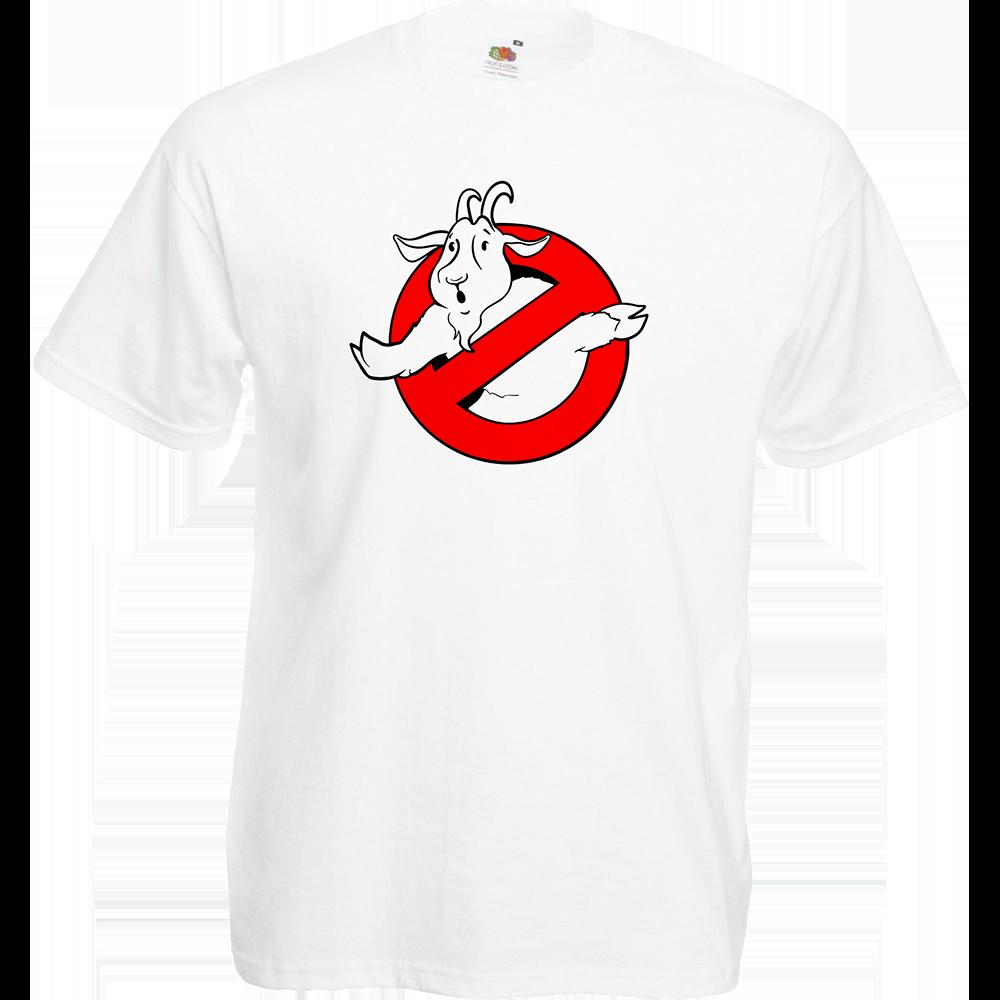 "T-shirt, coton blanc ""Goatbuster"". Réalisation Lapin-Cyan. Sublimation A4"