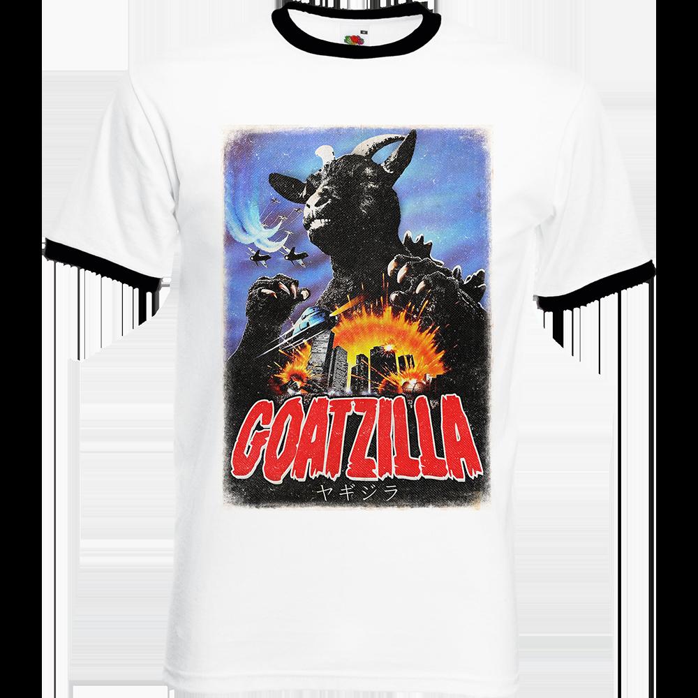 """T-shirt Ringer, coton blanc avec manche et col noir """"Goatzilla"""". Réalisation Vilain le singe. Sublimation A3"""