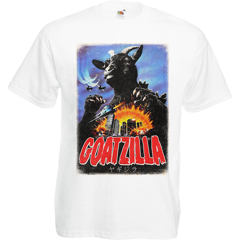 """T-shirt, coton blanc """"Goatzilla"""". Réalisation Vilain le singe. Sublimation A3"""