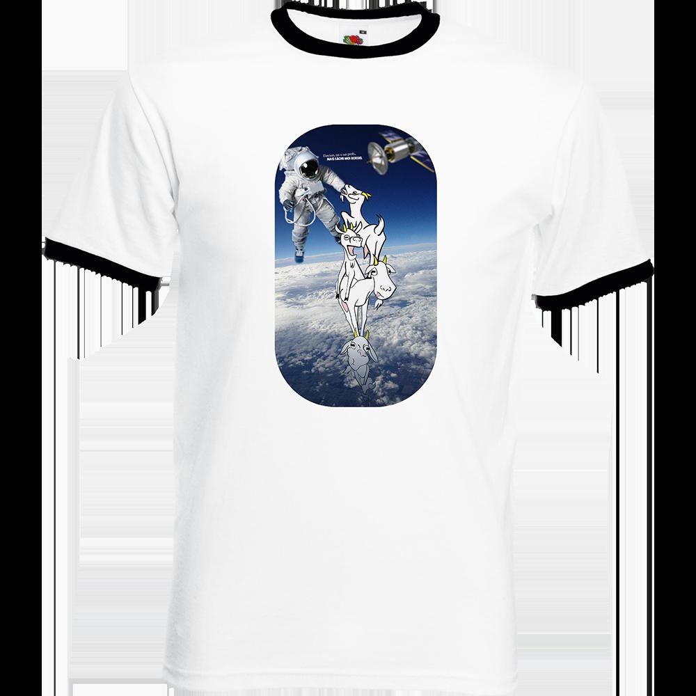"""T-shirt Ringer, coton blanc avec manche et col noir """"Houston"""". Réalisation Lapin-Cyan Vilain le singe. Sublimation A4"""