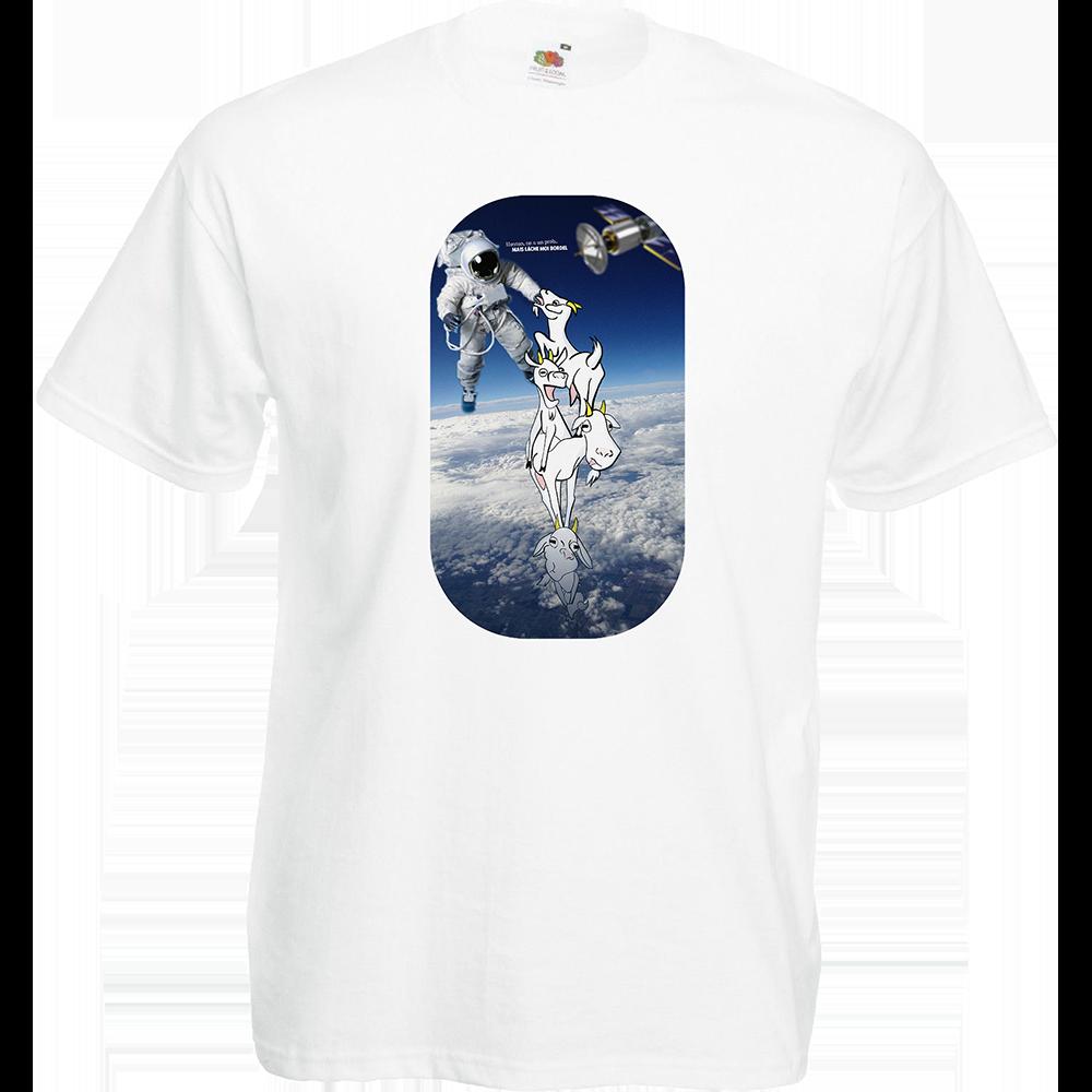 """T-shirt, coton blanc """"Houston"""". Réalisation Lapin-Cyan Vilain le singe. Sublimation A4"""