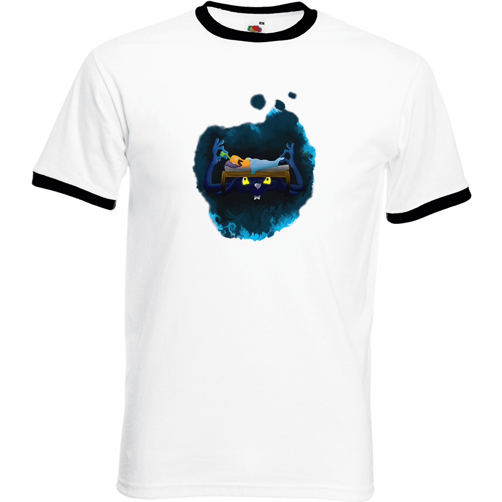 """T-shirt Ringer, coton blanc avec manche et col noir """"Cauchemar de carotte """". Réalisation Lapin-Cyan. Sublimation A4"""