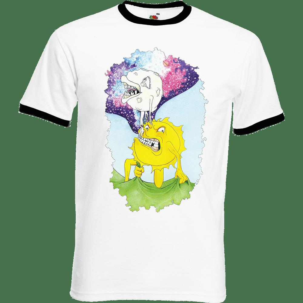 """T-shirt Ringer, coton blanc avec manche et col noir """"Soleil et lune"""". Lapin-Cyan. Sublimation A3"""