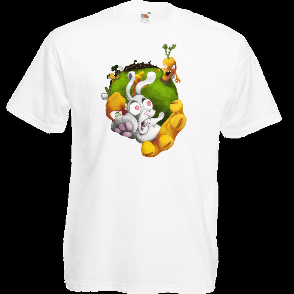 """T-shirt, coton blanc """"Vengeance de Carottes"""". Réalisation Lapin-Cyan. Sublimation A4"""