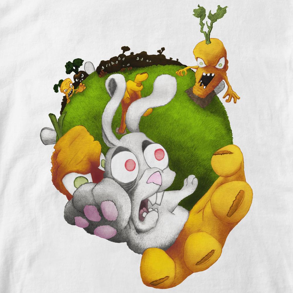 """T-shirt """"vengeancede carotte"""". Dessin style cartoon de carottes zombies attaquant un lapin . Dessin et infographie par Lapin Cyan"""