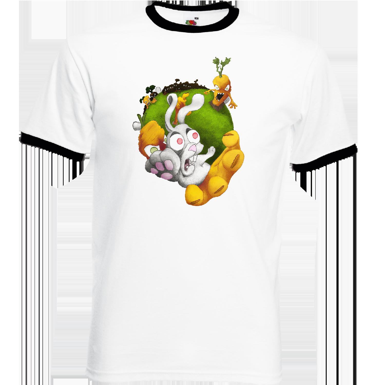 """T-shirt Ringer, coton blanc avec manche et col noir """"Vengeance de Carottes"""". Réalisation Lapin-Cyan. Sublimation A4"""